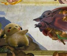 Pikachu - baby yoda - michelangelo - the creation of adam - meme - art - Funny Memes Star Wars Meme, Star Wars Art, Pikachu, Disney Star Wars, Animes Wallpapers, Cute Wallpapers, Cuadros Star Wars, Yoda Meme, Yoda Gif