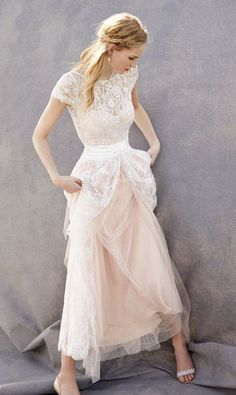 Lovely Wedding Dresses,Blush Pink Wedding Gown,Tulle Wedding Gowns,Lace Bridal Dress,Romantic Wedding Dress,Unique Blush Pink Brides Dress,Cap Sleeves Wedding Dress