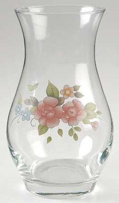 pfaltzgraff tea rose glassware vase 9 fine china dinnerware r