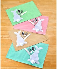 Easter Bunny Cottontail Table Top Decor Runner Place Mats Napkin Rings & Bags
