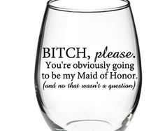 Maid of Honor proposal - Maid of Honor Wine Glass - Bridesmaid Proposal Glass - Will You Be My Maid Of Honor? Proposal Speech, Made Of Honor, Will You Be My Maid Of Honor, Special Wedding Gifts, Best Man Wedding Speeches, Maid Of Honor Speech, Bridesmaid Proposal, Bridesmaids, One Year Anniversary