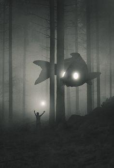 Artist Illustrates His Battle With Depression as a Mystical World of Spirit Animals Depression Illustration Jungle Animals Series by Dawid. Arte Horror, Horror Art, Fantasy Kunst, Fantasy Art, Fantasy Concept Art, Anime Fantasy, Dark Fantasy, Art Noir, Dark Fantasy Art