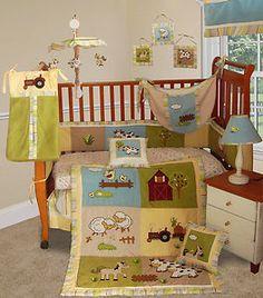 Baby Boutique - On The Farm 15 PCS  Boy Crib  Nursery Bedding Set ~ Research this
