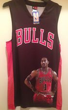 Chicago Bulls - Derrick Rose Jersey with Picture of Rose #1 -Screen Printed logo