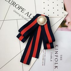 Red Green Ribbon British Tie Women Accessories Bow Collar Fashion Brooch Pin #Handmade
