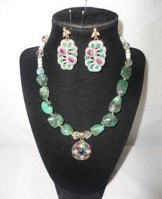 Elegant PearlEmeralds Rubies Sapphire Pendant by RamsesTreasure