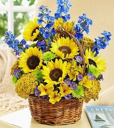 Choose same day flower delivery from to help you deliver a smile today! All same-day flowers are handcrafted and delivered on-time by local florists. Basket Flower Arrangements, Sunflower Arrangements, Sunflower Bouquets, Floral Arrangements, Flower Baskets, Sunflowers And Daisies, All Flowers, Summer Flowers, Beautiful Flowers
