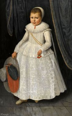 Wybrand de Geest the Elder LEEUWARDEN 1592 - AFTER 1667 PORTRAIT OF A YOUNG GIRL, FULL LENGTH, WEARING A WHITE LACE DRESS AND HOLDING A HAT AND CHERRIES dated centre left: A: 1624 oil on panel 118 by 71.5 cm.; 46 1/2 by 28 1/8 in.