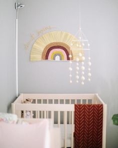 👀 We're giving you a peek into our own Charlotte's nursery nook. We'll share the full room very soon, but this boho rainbow wall hanging is a FAVE. Score it off with code - Ends 📸: for Modern Kids Bedroom, Modern Nursery Decor, Vintage Nursery, Nursery Wall Decor, Nursery Design, Baby Decor, Nursery Ideas, Bedroom Ideas, Nursery Nook