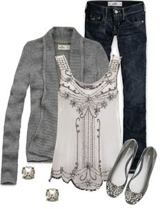 Grey, beaded top and jeans, really really want this outfit.  The whole thing  Really cute