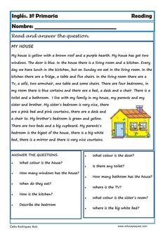 Reading and writting. Fichas de Inglés para Tercero Primaria Table of English tokens for Third Primary. Reading and writting. Reading and writting. English tokens for Third Primary First Grade Reading Comprehension, Reading Comprehension Worksheets, Reading Fluency, Reading Skills, English Teaching Materials, Teaching English Grammar, English Grammar Worksheets, English Lessons For Kids, Learn English Words