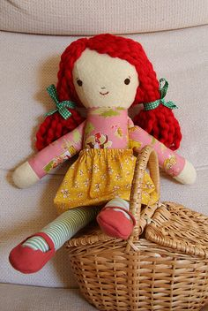 Love this sweet doll with her red hair.  The hair is the new Martha Stewart yarn, in the bulky weight, Lofty.
