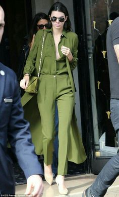 Kendall Jenner in an all green ensemble: