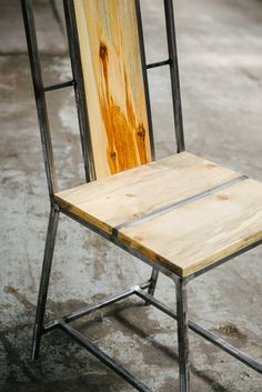 Stunning beetle kill pine and reclaimed steel chair // by Purpose and Pine