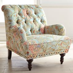 Chas Blue Floral Armchair is part of Floral armchair Take a seat in a flowering meadow, offered here in a timeless silhouette Overstuffed and tufted, this handcrafted armchair comes with vintage ch - Blue Armchair, Patterned Armchair, Retro Armchair, Rustic Furniture, Living Room Furniture, Antique Furniture, Furniture Nyc, Outdoor Furniture, Furniture Stores