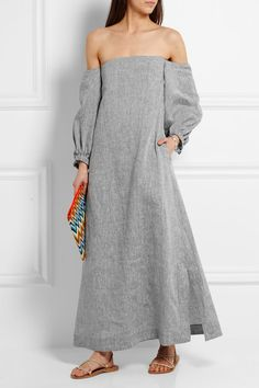 Lisa Marie Fernandez - Off-the-shoulder slub linen-chambray maxi dress