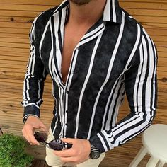 Casual Tops, Casual Shirts, Men Shirts, Jeans Style, Shirt Style, Chemise Slim Fit, Color Stripes, Workout Shirts, Long Sleeve Tops