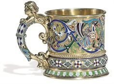 A Russian Silver-gilt and Cloisonné-enamel Tea Glass Holder, Pavel Ovchinnikov, Moscow 1882.