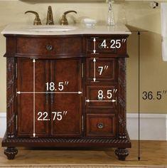 Silkroad Exclusive HYP0213CMUIC36R | Appliances Connection Vanity Set, 36 Inch Bathroom Vanity, Ceramic Sink, Single Sink, Marble Countertops, Marble Top, Cabinet, Storage, Wood