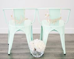 Wedding Chair Signs, Bride and Groom Chair Sign, Wedding decor by LetsTieTheKnot on Etsy! // For bridal showers, weddings, engagement parties, or any special event!