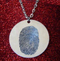 Single Fingerprint Pendant Necklace. Unique!