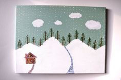 Woodland Painting Original Seafoam Canvas Snow Fir by WishlistArt, $90.00