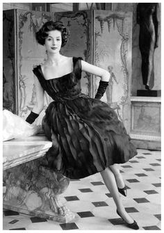 """Gitta Schilling in Balmain's cocktail dress from his """"Perle Océane"""" collection, Spring 1959, photo by Regina Relang, 1959"""