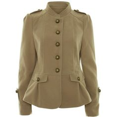 A Wear Beige Long Sleeve Military Jacket (€34) ❤ liked on Polyvore featuring outerwear, jackets, coats, tops, beige, military style field jacket, vintage jackets, military army jacket, floral print jackets and field jackets