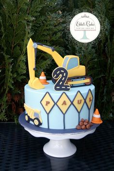 Kuchen inspo … … – Cake ideas for Birthday - Kuchen 3rd Birthday Cakes, 2nd Birthday Parties, Baby Birthday, Construction Theme Cake, Construction Birthday Parties, Excavator Cake, Digger Cake, Cakes For Boys, Themed Cakes
