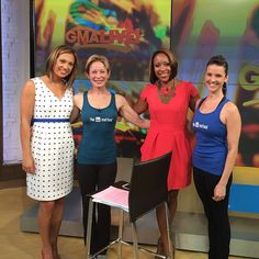 Burr and Amy pose with the hosts of GMA Live - Ginger Zee and Mara Schiavocampo. #barmethod #gmalive #goodmorningamerica