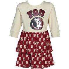 Florida State Seminoles (FSU) Toddler Girls Gold-Garnet Long Sleeve Layered Dress