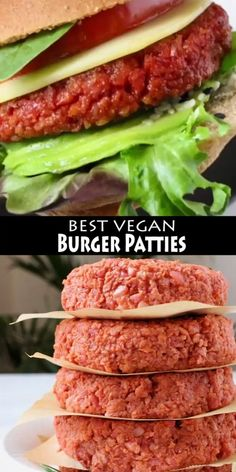 The best homemade vegan burger patties recipe with beets, brown rice and protein loaded soy curls or TVP crumbles. Easy, meaty and hearty, skip the oil and make it totally whole foods plant based compliant. Tasty Vegetarian Recipes, Vegan Dinner Recipes, Vegan Recipes Easy, Whole Food Recipes, Yummy Vegan Meals, Easy Vegan Food, Vegan Recipes For Beginners, Plant Based Dinner Recipes, Delicious Recipes