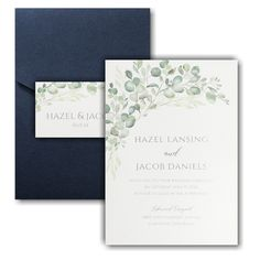 Watercolor Verdure Pocket Wedding Invitation Icon Online Fonts, Pocket Wedding Invitations, Reception Card, Foil Stamping, Response Cards, White Envelopes, Your Cards, Wedding Cards, Color Schemes