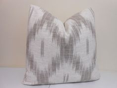"Driftwood/ Grey Ikat Pillow - Kravet Sommers Ikat -  Designer Pillow - Sofa Pillow- 20"" x 20"""