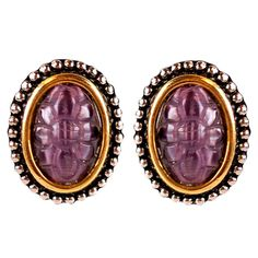 Amethyst-Like Vintage Carved Flower 2 Tone Clip Earrings