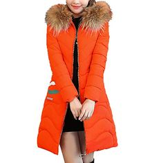 Fabal Women Winter Collar Stand Warm Down Coat Thickening Stripe Colorblock Loose Padded Coat Jacket
