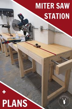 Miter Saw Station with build Plans by DIY Montreal How to build a miter station with integrated drill press space saving extension wing Ttrack stop blocks adjustable fee. Workbench Plans Diy, Woodworking Workbench, Woodworking Workshop, Easy Woodworking Projects, Woodworking Furniture, Woodworking Techniques, Wood Projects, Woodworking Classes, Popular Woodworking