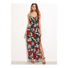 SheIn(sheinside) Black Floral Spaghetti Strap Split Dress ($25) ❤ liked on Polyvore featuring dresses, multicolor, night out dresses, long party dresses, sleeveless dress, long slip dress and party dresses