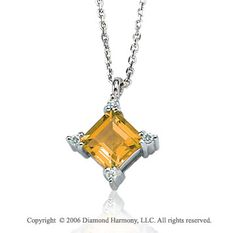 14k White Gold Princess Citrine Prong Diamond Necklace -> Description: This princess cut citrine sits in a diamond shape in decorated prongs of white gold. Show off your gemstone style when you wear this 14k White Gold Princess Citrine Prong Diamond Necklace. -> sku=NK3119 -> Price $255.00