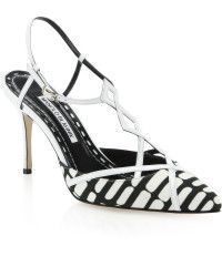 Manolo Blahnik | Textile & Leather T-strap Slingback Pumps | Lyst