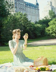 Paper Mothball Vintage, vintage picnic in central park, 1940s, vintage hair, pinup, back seem stockings