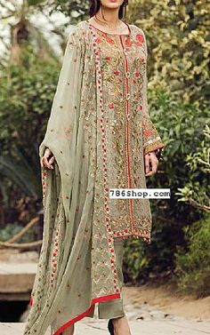 Light Pistachio Chiffon Suit | Buy Flossie Pakistani Dresses and Clothing online in USA, UK