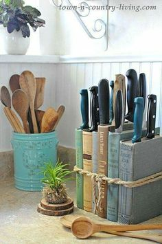 See how to make a quick and easy DIY knife holder using books you have on hand! decorating ideas for the home DIY Knife Holder: Flea Market Inspired - Town & Country Living Küchen Design, House Design, Book Design, Knife Holder, Creation Deco, Easy Home Decor, Diy Home Décor, Upcycled Home Decor, Fleas