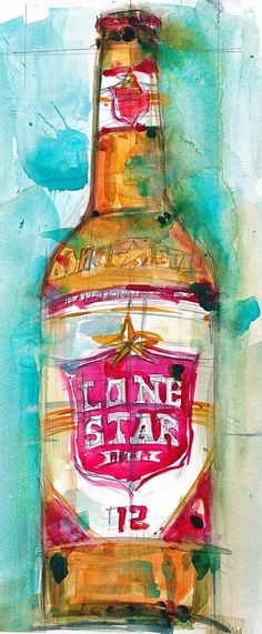 Lone Star Beer Art Print from Original Watercolor (Print Size - x. and (Print Size - 10 x Decoupage, Bora Beber, Vintage Beer Signs, Water Abstract, Beer Art, Fine Art Photo, Watercolor Print, Beautiful Paintings, Cool Artwork