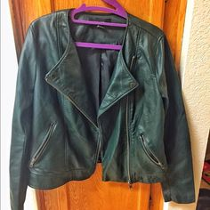 Forever 21 Green Faux Leather Jacket Selling this Forever 21 Faux green leather jacket. Size medium. Only has been worn once. Perfect condition. Forever 21 Jackets & Coats