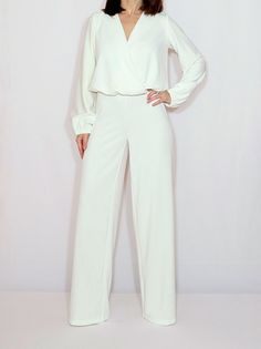 White long sleeve jumpsuit, wedding jumpsuit Off white jumpsuit women Ivory jumpsuit Long sleeve jumpsuit wide leg jumpsuit Wrap top White Jumpsuit Formal, White Long Sleeve Jumpsuit, Elegant Jumpsuit, Plus Size White Jumpsuit, Designer Jumpsuits, Long Jumpsuits, Jumpsuits For Women, Wedding Jumpsuit, Casual Outfits