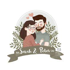 Wedding Illustration, Family Illustration, Portrait Illustration, Family Portrait Drawing, Cute Couple Art, Cute Drawings, Hipster Drawings, Pencil Drawings, Arte Pop