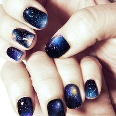 universe nails, galaxy nail polish job and how to Love Nails, How To Do Nails, Pretty Nails, Fun Nails, Sexy Nails, Gorgeous Nails, Dream Nails, Amazing Nails, Gradient Nails