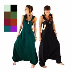 Aladdin Harem Jumpsuit  with coconut buttons- Overalls - Women - loose jumpsuit - dungarees