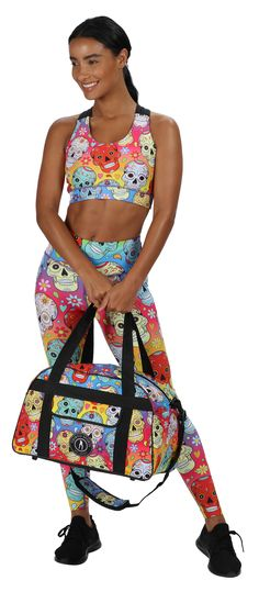 With a beautiful gradient base, our Rainbow Mexican Skulls print is a colourful and bold design for all your workouts, from low impact to HIIT.  Featuring Day of the Dead style sugar skulls, hearts and flowers, these full-length tights are full of sass and soul. Cut from soft LYCRA® fabric with a gentle sculpting effect, you'll love the silky skulls enveloping your legs. The vibrant print extends up the high waistband to tuck you in for a confidence boost. Skull Leggings, Tights, Confidence Boost, Mexican Skulls, Skull Print, Sugar Skulls, Hiit, Sculpting, Workouts
